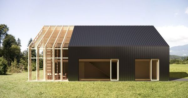 Low energy prefab house ekoart by celovito for Red barn prefab