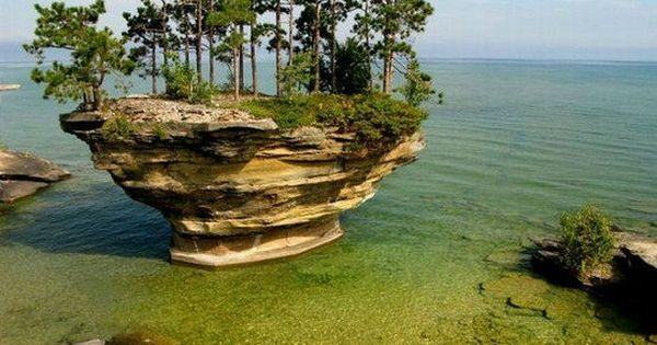 Turnip Rock, Lake Huron, Michigan - Amazing small island called Turnip Rock