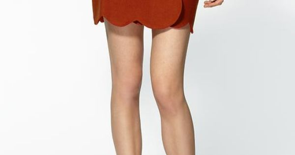 rusty red scalloped skirt. perfect for