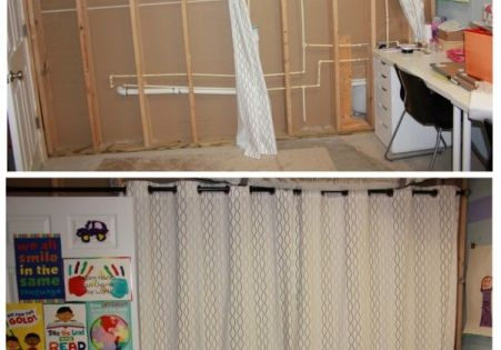 Using Curtains To Transform Basement Walls Unfinished Basement Basement Craft Rooms Finishing Basement