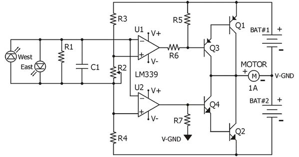 circuit diagram for the lm339 quad comparator based sun tracker