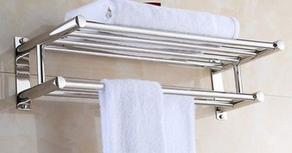 New Wall Mounted Bathroom Towel Rail Holder Storage Home Double