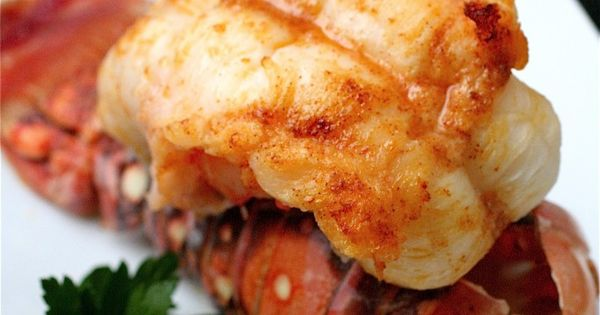 Broiled Lobster Tails with Garlic Butter Sauce seafood
