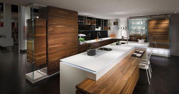 R sultats de recherche d 39 images pour cuisine moderne en for Ilot central avec table retractable