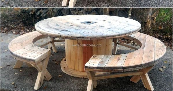 recycled pallet cable reel patio furniture selbermachen g rten und kabeltrommel. Black Bedroom Furniture Sets. Home Design Ideas