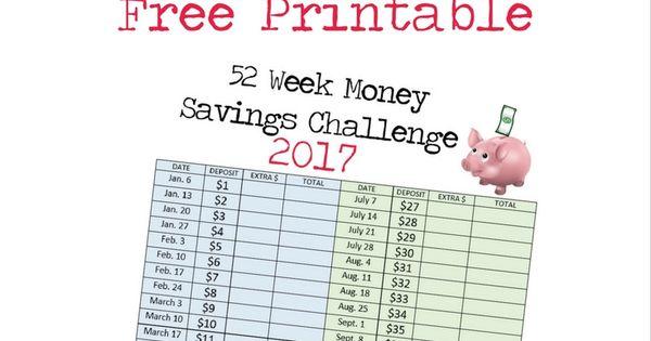 52 week money savings challenge 2017 printable chart pinterest money charts. Black Bedroom Furniture Sets. Home Design Ideas