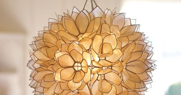 Capiz Pendant Lamp - hundreds of capiz-shell petals, trimmed in nickel, form