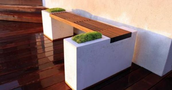 DIY backyard concrete planter bench