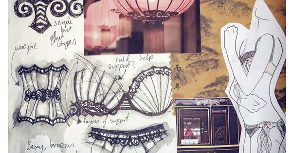 fashion sketchbook lingerie design drawings with theme