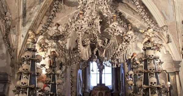 Roman Catholic church decorated with human bones, still don't know how I