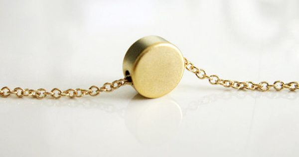 Tiny Gold Dot Necklace / Small Gold Circle Necklace / Simple Gold