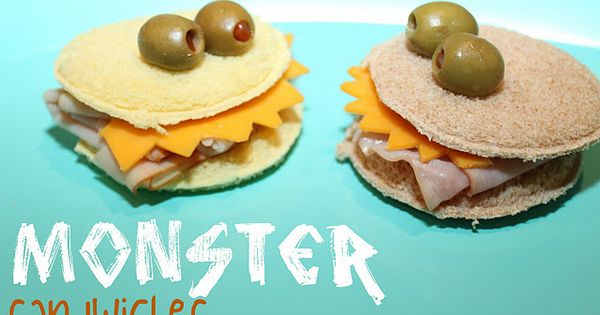 http://jensownroad.blogspot.com/2011/12/monster-sandwiches.html monster sandwiches made for Little Monster birthday party HOW CUTE IS