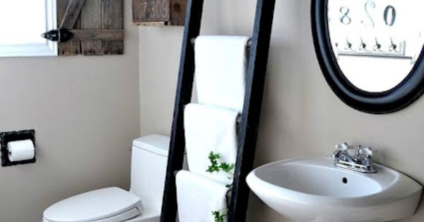 Old Ladder for a Towel Rack - This is such a great