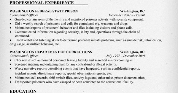 correctional officer resume sample