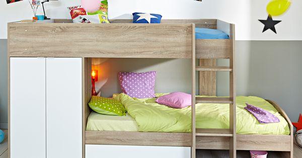 lit superpos en bois avec rangements 2couchages 90x200cm jimmy lit superpos en bois lit. Black Bedroom Furniture Sets. Home Design Ideas