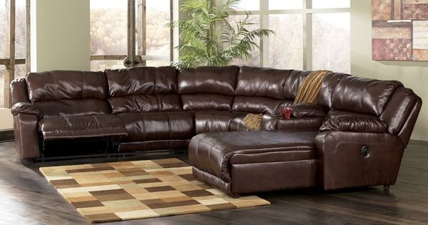 Ashley braxton reclining sectional with chaise java for Ashley leather chaise lounge