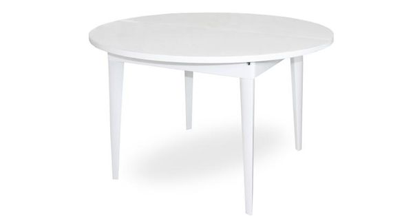 Table diner ronde laqu e avec rallonge 120 160 cm for Table rectangulaire 160 cm avec rallonge