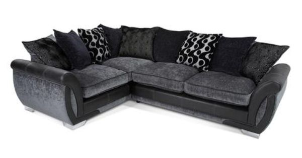 Right Hand Facing 3 Seater Pillow Back Corner Sofa Bed Shannon Dfs Dfs Corner Sofa Bed Black And Grey Corner Sofa Grey Corner Sofa