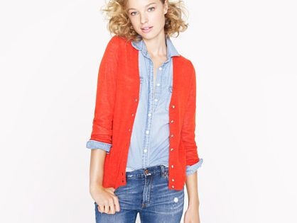 Denim shirt red sweater