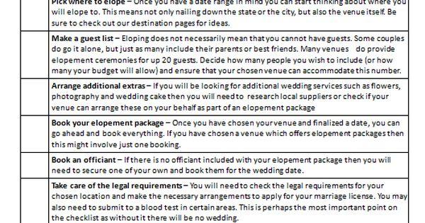 Elopement Wedding Checklist