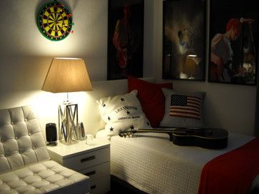 I Like The Americana Music Theme If I Can Figure Out How To Incorporate Some Camo Tastefully Boy Bedroom Design Dorm Room Designs Dorm Design