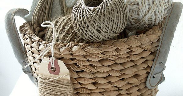 "basket of twine - love the ""nice package"" tag"