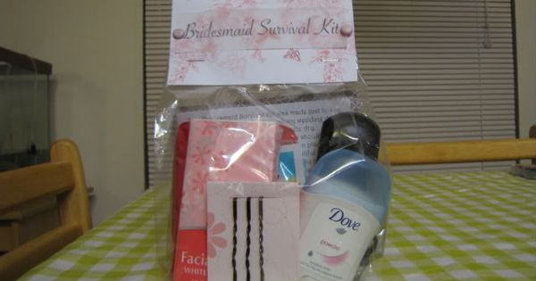 DIY Bridesmaid Survival Kit. Includes tylenol, deodorant, hair pins, hair brush, tissues,