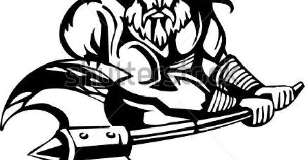Nordic Viking Black White Vector Illustration Vinyl