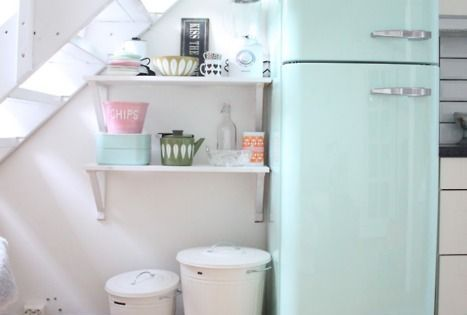 18 clever uses for the space under your stairs smeg fridge and pastels. Black Bedroom Furniture Sets. Home Design Ideas