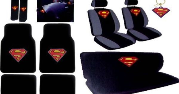 superman car accessories seat covers bench cover floor mats shoulder pads steering wheel. Black Bedroom Furniture Sets. Home Design Ideas