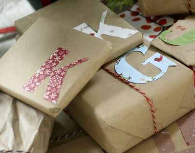 monogram gift wrapping - something I can do with all the brown