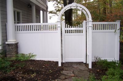 Vinyl Privacy Fence Vinyl Arbor With 6 Privacy Picket Accent Fence Fencing Bergfed Vinyl Privacy Fence Vinyl Fence Landscaping Vinyl Fence