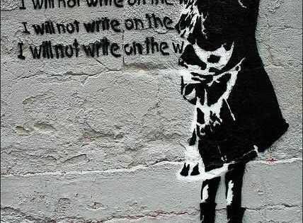 i will not write on the walls via banksy streetart pinterest the wall i will and kunst. Black Bedroom Furniture Sets. Home Design Ideas