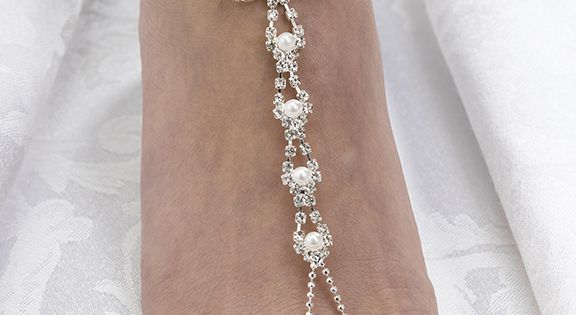 Pearl Rhinestone Foot Jewelry This Is Pretty Perfect For My Beach Wedding
