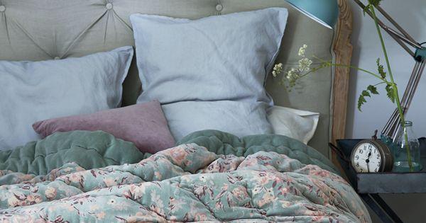 Florrie Velvet Kingsize Quilt Sage Cox Cox Bedroom