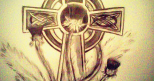 Celtic Cross And A Scottish Thistle Tattoo Idea Ink Ideas Pinterest Scottish Thistle