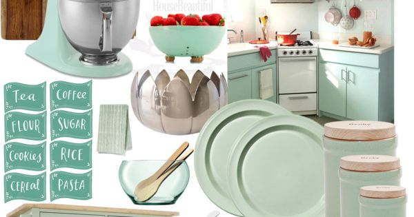 Cozy mint kitchen by kellaheal on polyvore top interior design looks pinterest kitsch - Deco keuken chique platteland ...