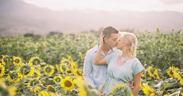 Hawaii sunflower field engagement photos