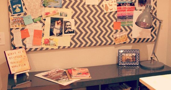 #DIY Chevron bulletin board.. love this. Craft room cove ideas!!