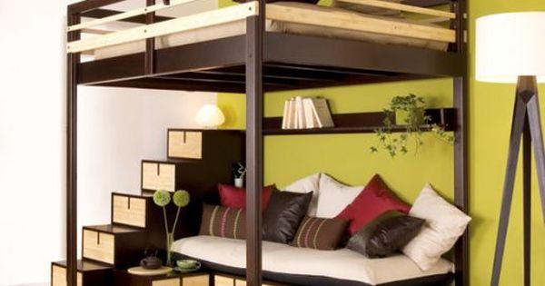 lit mezzanine avec un canap en dessous pour un espace convivial dans une petite pi ce ou une. Black Bedroom Furniture Sets. Home Design Ideas