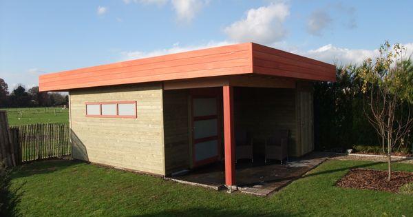 Tuinhuis met overkapping tuinhuis met zithoek maatwerk door tuinhuisjes vermeire ontwerpen - Veranda met dakpan ...