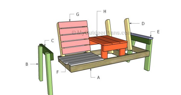 Double Chair Bench with Table Plans | Free Outdoor Plans ...