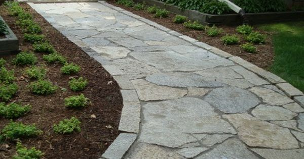 flagstone walkway with edge detail - Flagstone Walkway Design Ideas