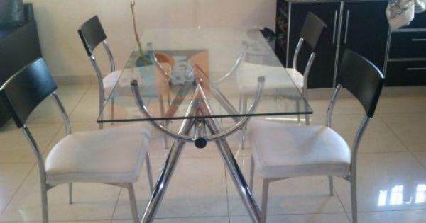 Juego De Mesa Y Sillas Simet(vidrio Templado Y Aluminio) -  5.900 ...