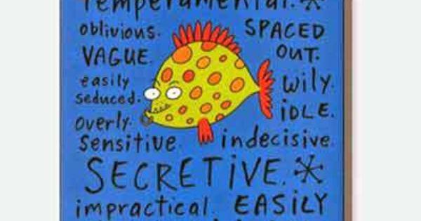 Pisces Negative Traits Fridge Magnet Pisces Pieces Horoscope