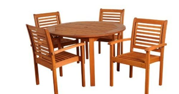 Amazonia Milano 5 Piece Round Set By Amazonia 778 79 Solid Eucalyptus Wood And Gal Cheap Patio Furniture Patio Furniture Sets Wood Patio Furniture