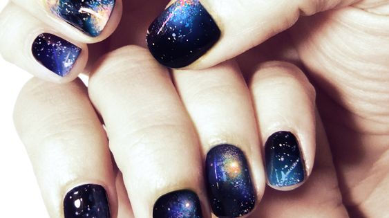 night sky galaxy nails