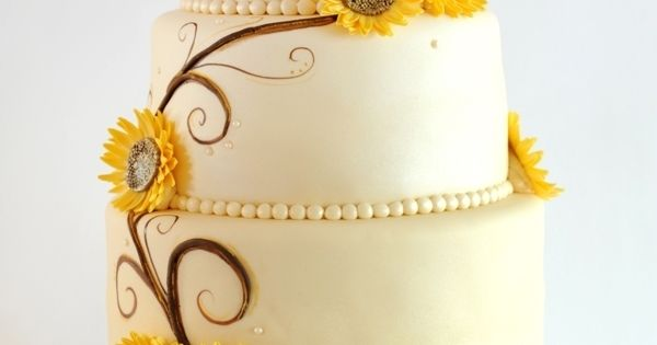 cake ideas Cake Decorative Sunflower Wedding Cakes cakepins.com