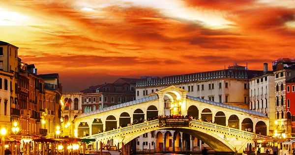 Ponte Rialto and gondola at sunset in Venice, Italy. Love Venice but