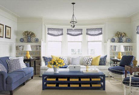 14 Blue And White Rooms That Prove Classic Doesn T Mean Old Timey Blue And White Living Room Blue And Yellow Living Room Cottage Style Living Room